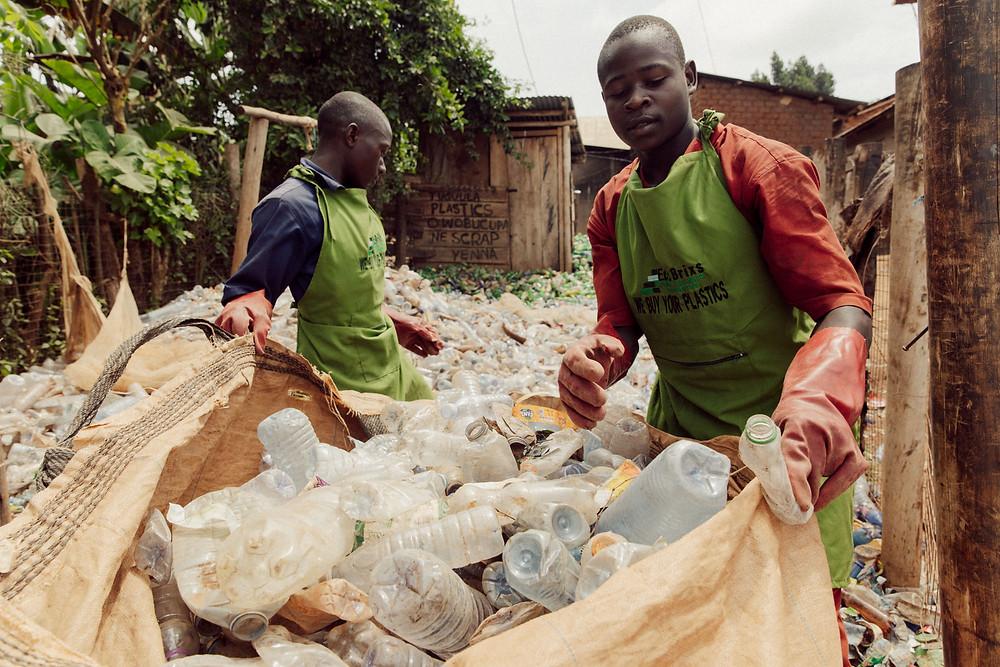Local Ugandan team sorting plastic at Eco Brixs Community Recycling Centre