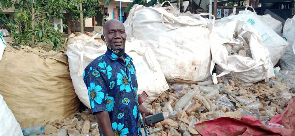 Ssali Edward is one of Eco Brixs plastic waste collectors, using it to earn an income in Uganda