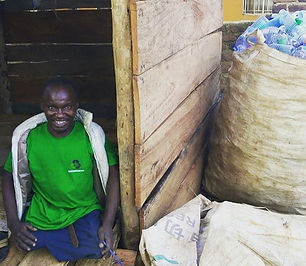 Mukalazi, who is disabled, manages one of our recycling centres