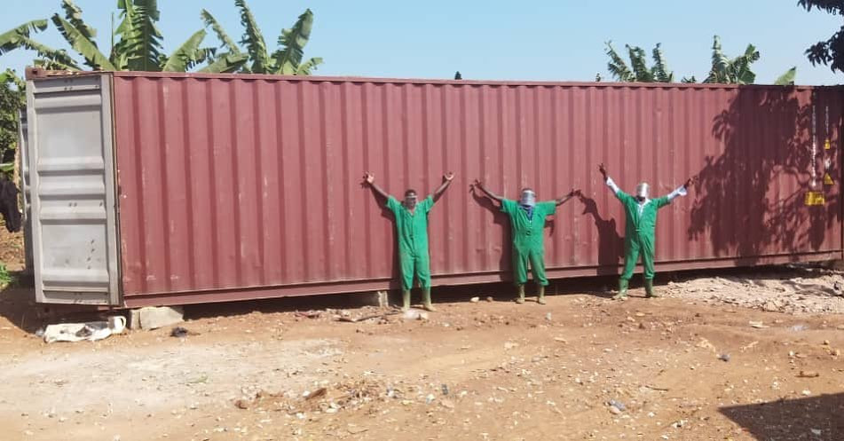 Eco Brixs team with a 40 foot shipping container which will upcycled into a factory to make eco-products
