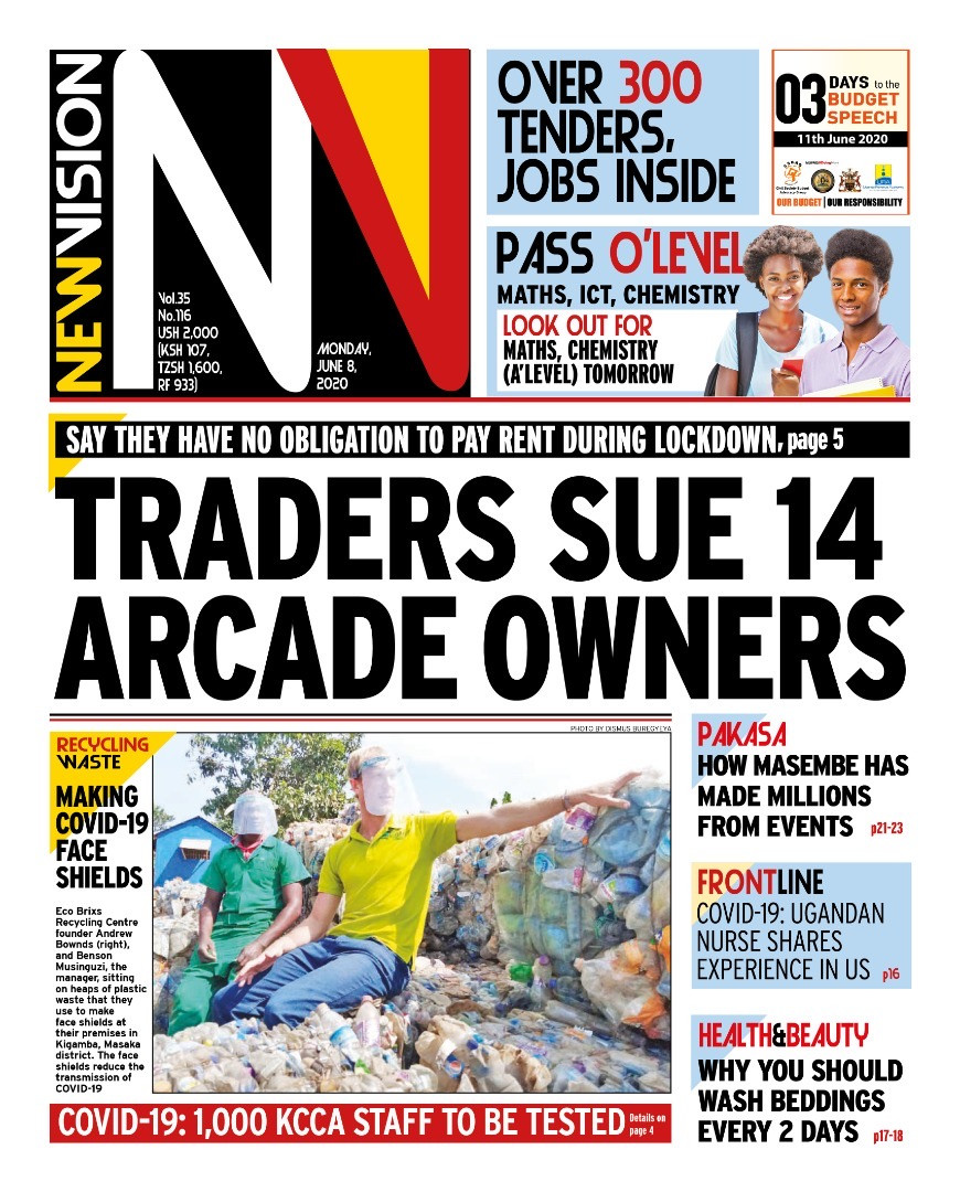 Eco Brixs Recycled Plastic Face Shields on the frontpage of New Vision Newspaper