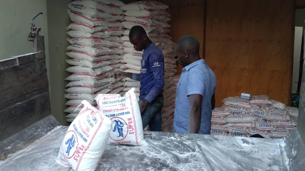 Bags of maize are ready to be distributed as part of the Eco Brixs Coronavirus Relief Programme to support the vulnerable through the lockdown