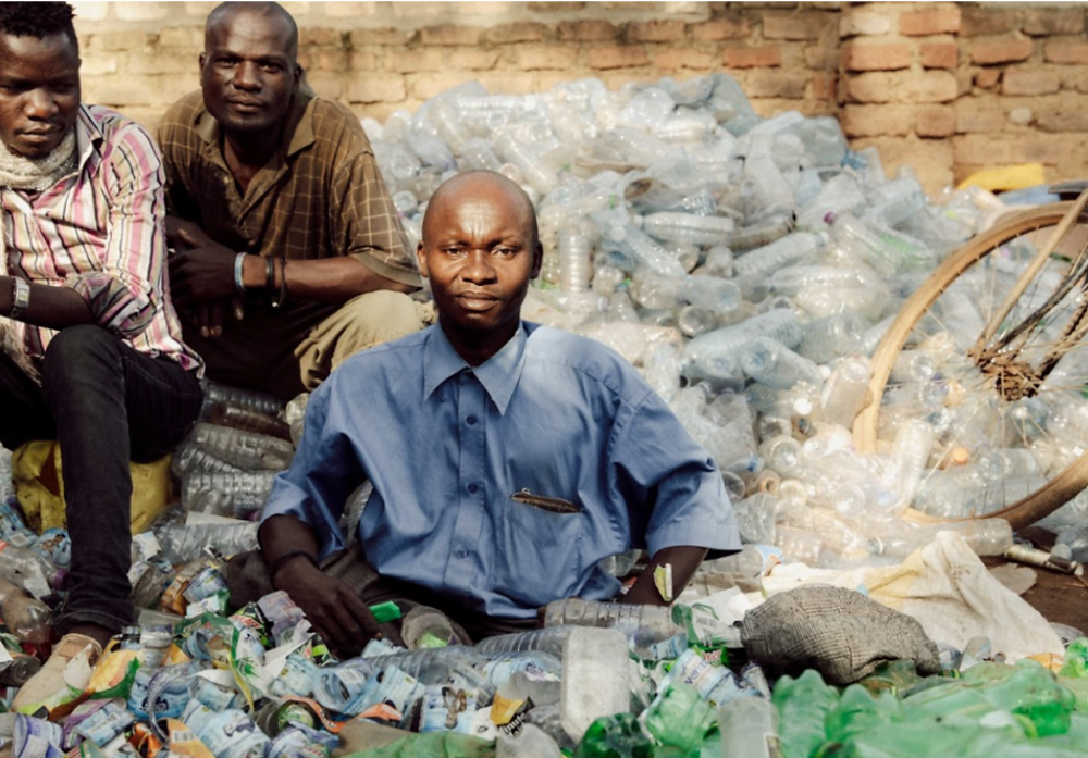Eco Brixs team from the disabled community amongst plastic waste to be recycled