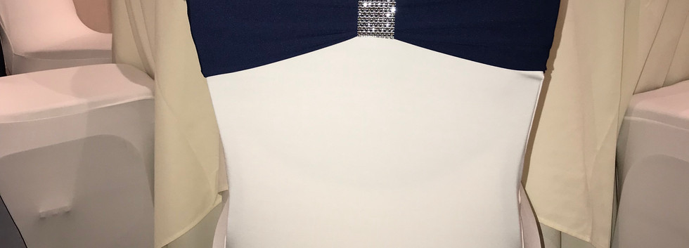 white spandex with navy band and bling.j