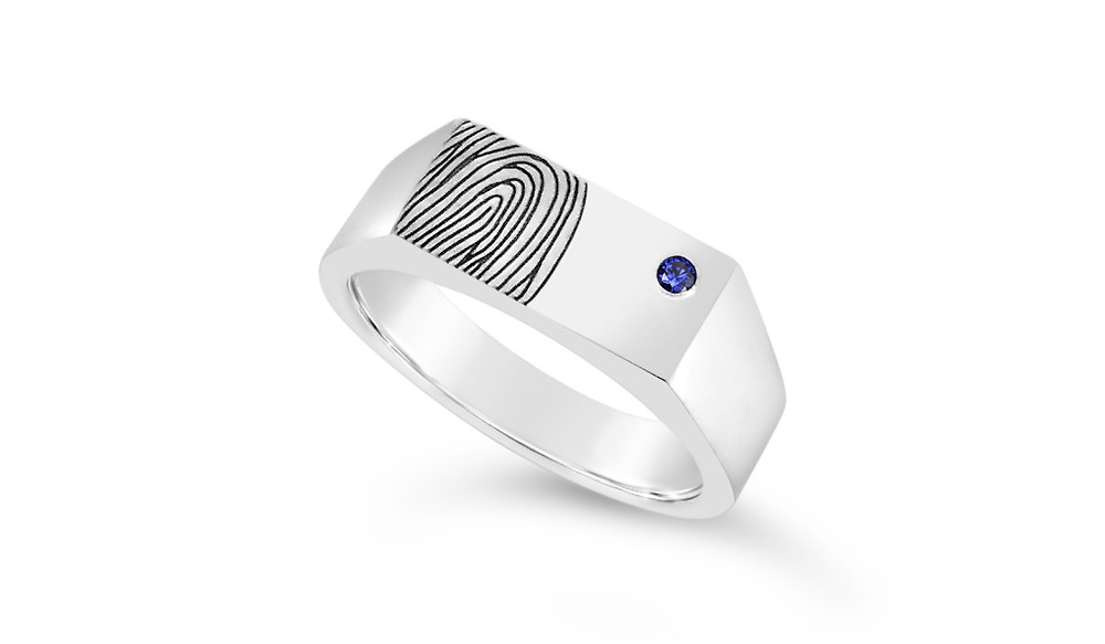 men's white gold engagement ring with fingerprint and sapphire