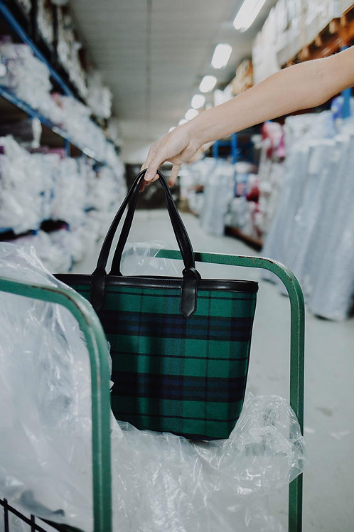 Tartan reversible shopper black