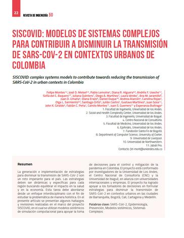 SISCOVID: modelos de sistemas complejos