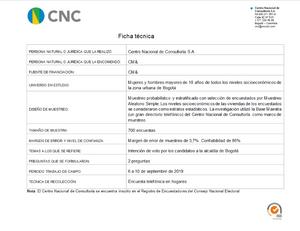 Ficha Técnica Intención de voto Alcaldía de Bogotá 10-09-2019