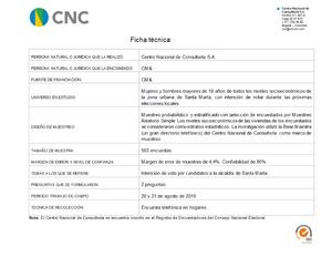 Ficha Técnica - Intención de voto Alcaldia de Santa Marta 21-08-2019