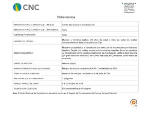 Ficha Técnica Preferencias electorales a la alcaldía de Cali 11-04-2019