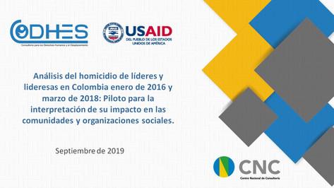 Analisis del Homicidio de líderes sociales en Colombia