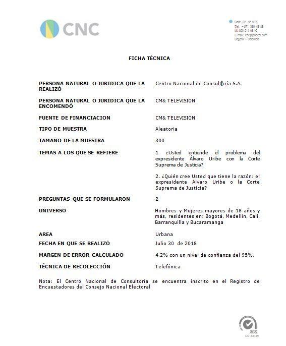 Ficha técnica | 30-07-2018 URIBE VS CORTE SUPREMA JUSTICIA