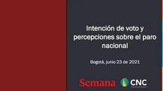 Intención de voto y percepciones sobre el paro nacional