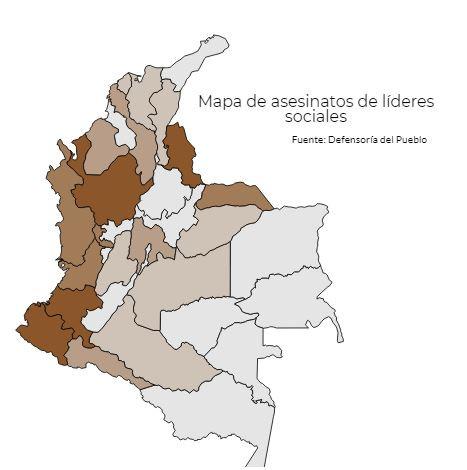 Mapa de asesinatos de líderes sociales