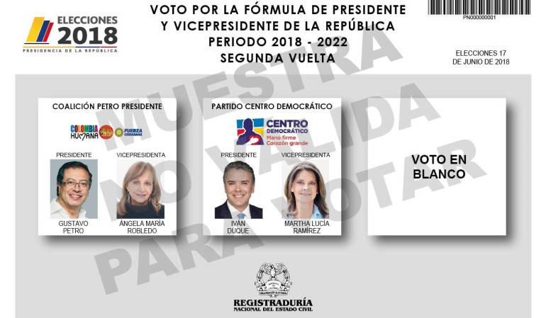 Tarjetón elecciones Presidenciales Colombia para segunda vuelta