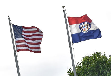Image of two flags swaying in the wind on a bright day