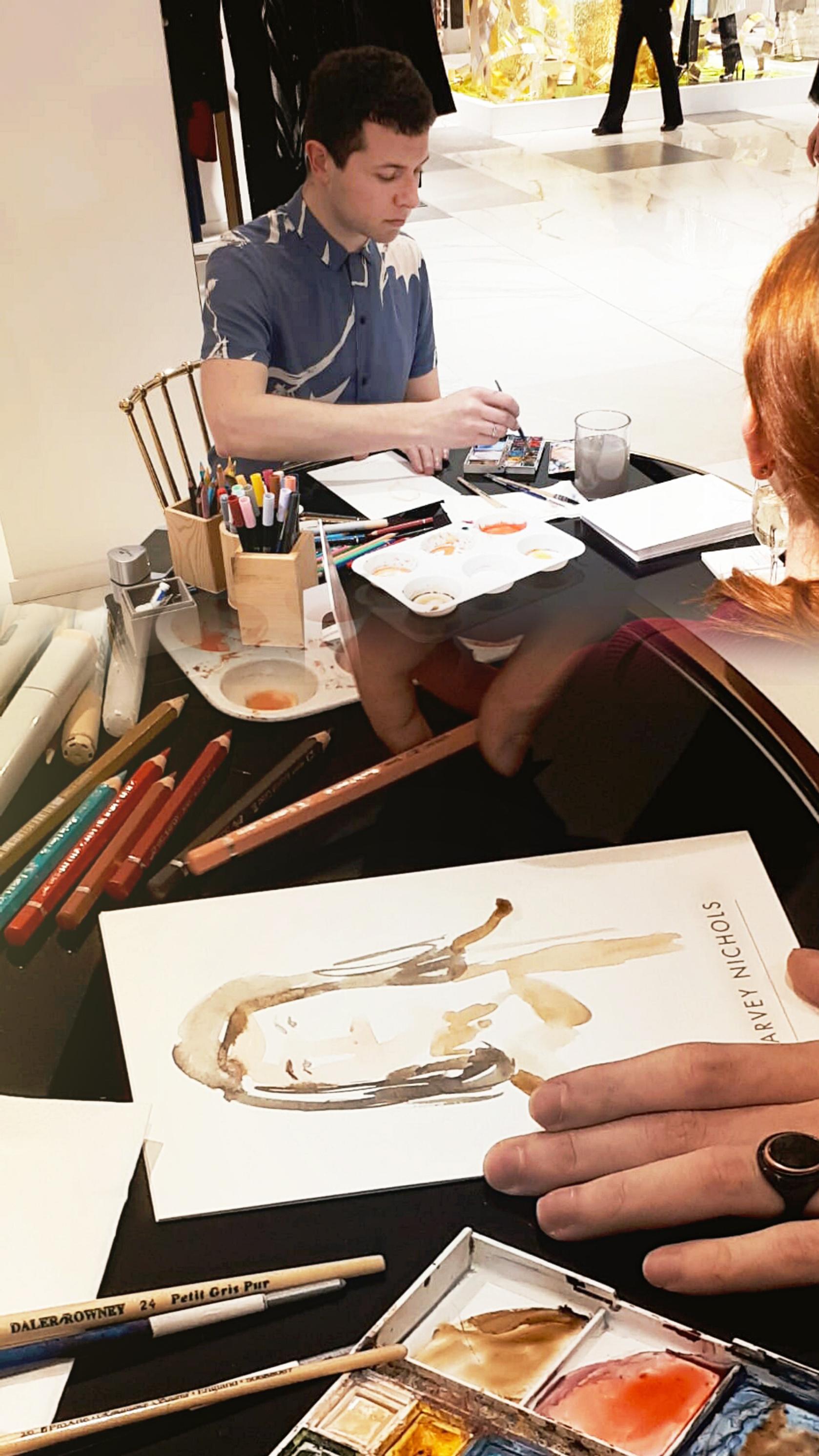 Live sketching event Harvey Nichols