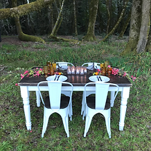White bistro chairs & small farm table
