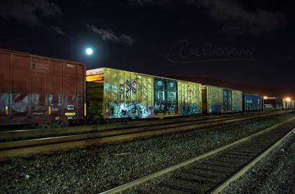 Full Moon in the Trainyard