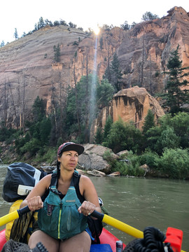 Cass Perez rowing on the Rio Chama in New Mexico Join us on your next New Mexico Adventure with Santa Fe Rafting Company