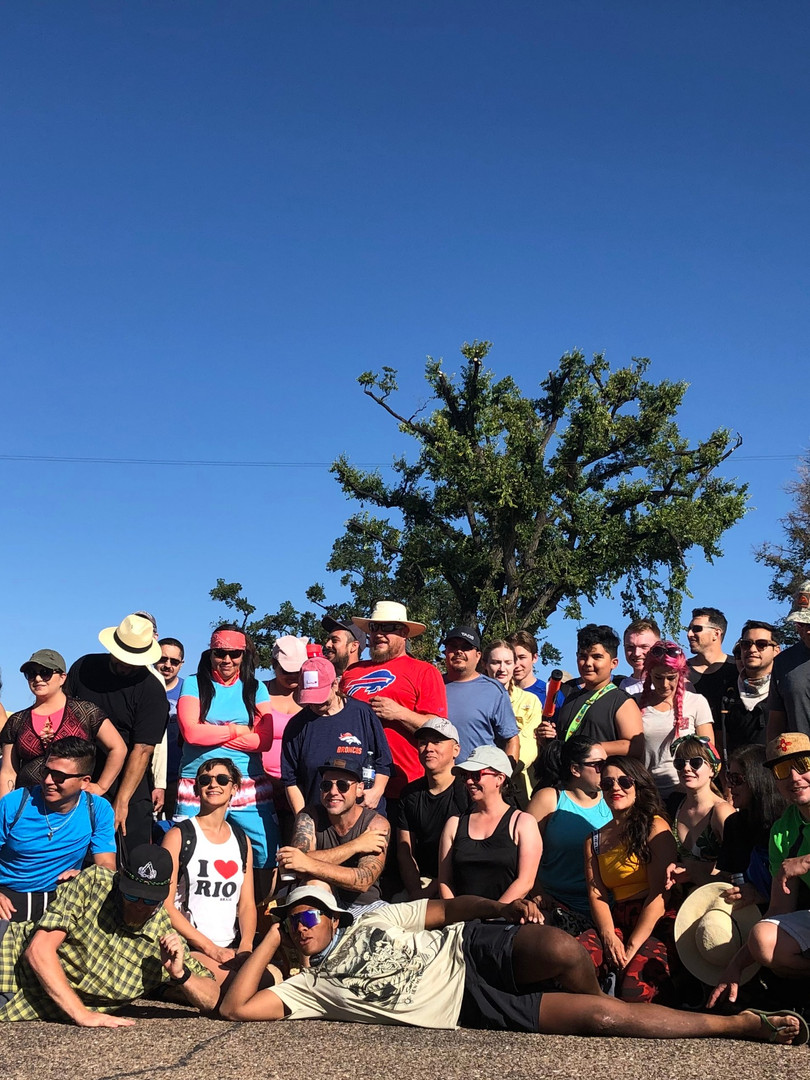 Awesome large group of local New Mexican service industry workers get treated to a day with Santa Fe Rafting out on the Mighty Beautiful Famous Rio Grande River Racecourse.