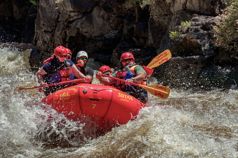 Santa Fe Rafting white water rafting on the Taos Box section on the Rio Grande in New Mexico.