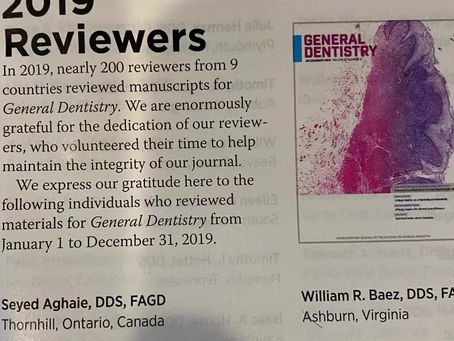 Dr Ravindran has been an editor reviewer for the academy of general dentistry for the last 6 years.