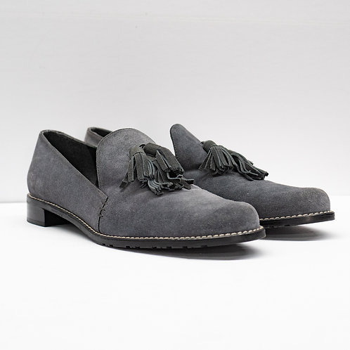 0653 GREY SUEDE LOAFERS SIZE 9