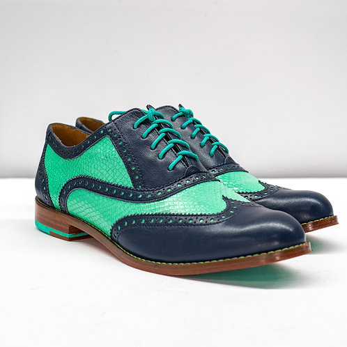 0647 TEAL LEATHER WINGTIP SIZE 9