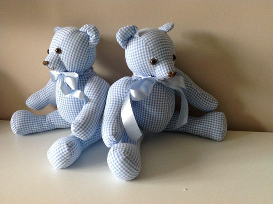 Small blue gingham ornamental twin bears