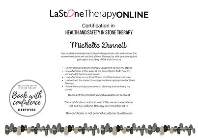 LaStone Health & Safety in Stone Therapy certificate