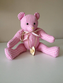 Small Pink Gingham Ornamental Bear