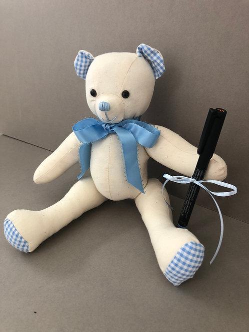 Small Signature Bear (Blue Gingham)