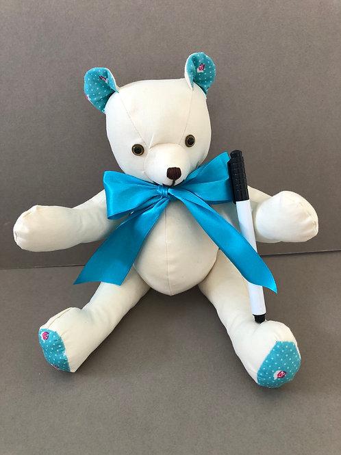 Medium Signature Bear (Turquoise Floral)