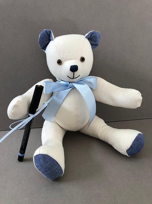 Medium Signature Bear (Blue Chambray)