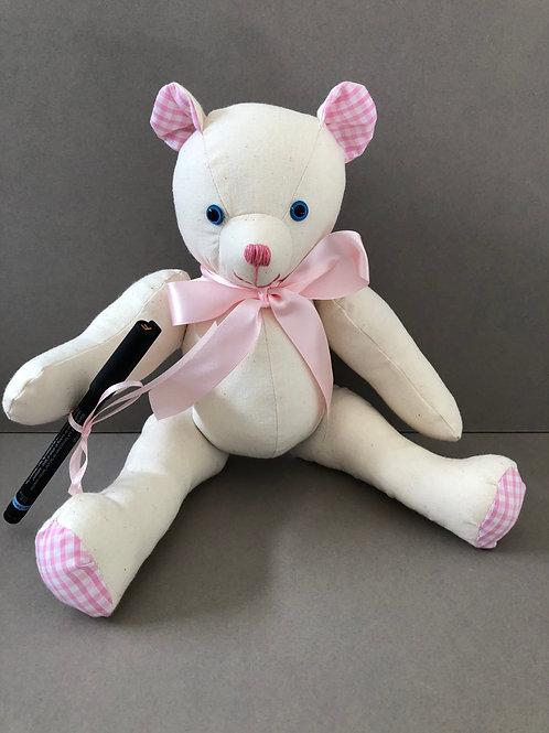 Medium Signature Bear (Pink Gingham)