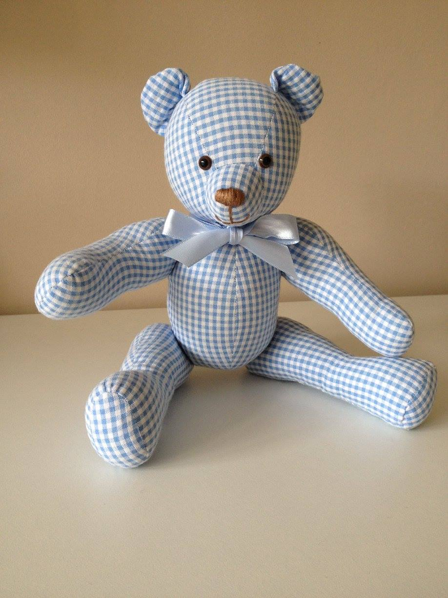 Small blue gingham ornamental bear