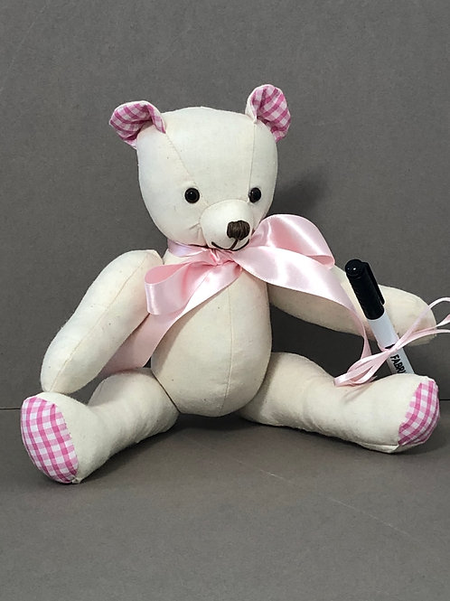 Small Signature Bear (Pink Gingham)