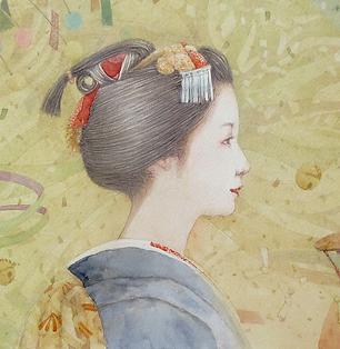 さっこう(舞妓・水彩画)部分