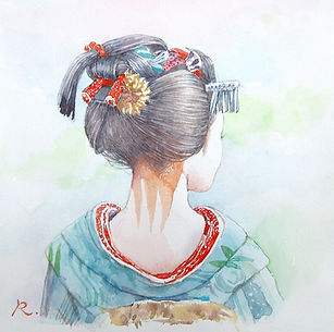 涼風(すずかぜ / 舞妓)水彩画、福井良佑 作
