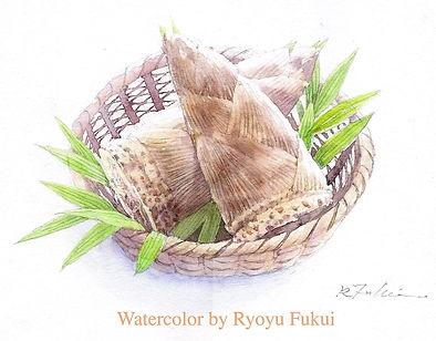 籠の筍(水彩画)福井良佑