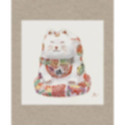 祝い猫(福が来る、張子の猫)水彩画 福井良佑 作