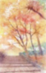 洛西の秋(京都・龍安寺)水彩画 福井良佑