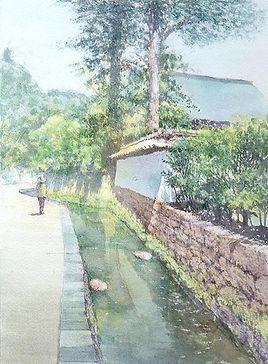 蝉時雨(鎌倉)水彩画 福井良佑
