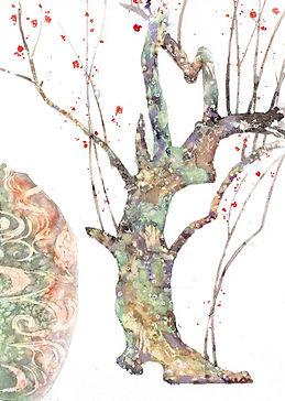 尾形光琳  「紅白梅図屏風」 部分模写 / 水彩画、福井良佑 作