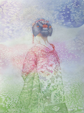 花の色(舞妓)水彩画、福井良佑