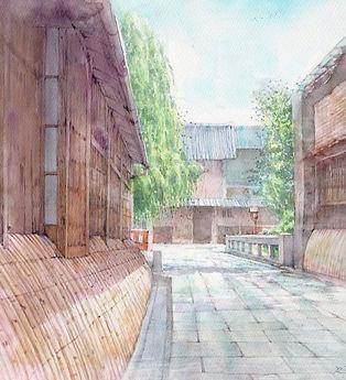 立夏のころ(京都・祇園 巽橋付近) 水彩画