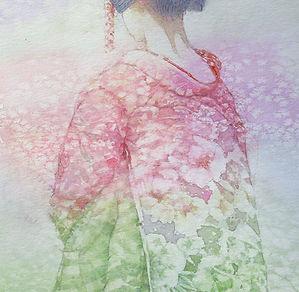 花の色(舞妓・水彩画)部分:福井良佑 作