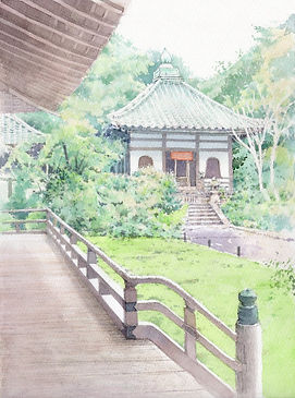 寂光(京都・青蓮院) 水彩画 福井良佑