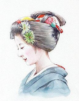 大切なもの(舞妓) 水彩画、福井良佑 作